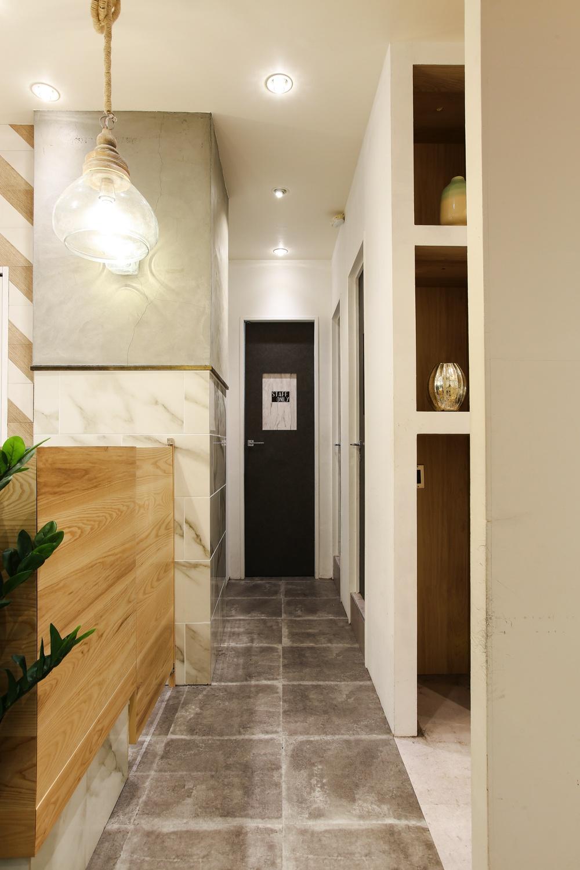 モダン、コンテンポラリー、大理石を使った美容室、ヘアサロンの内装店舗デザイン
